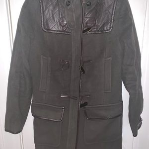 Cole Haan Wool/Leather Hunter Green Coat Size 6